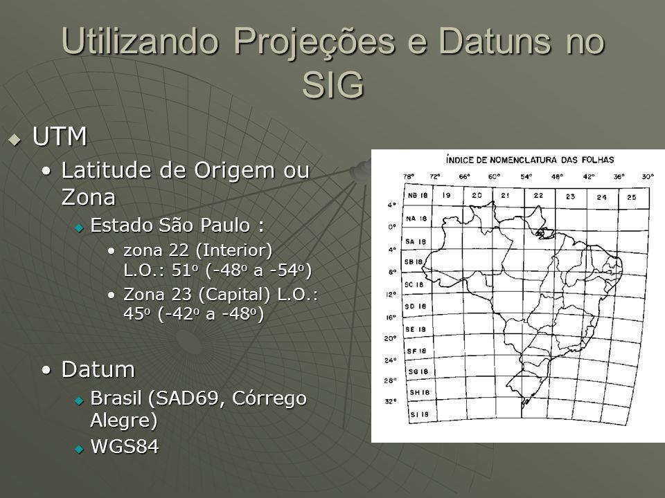 Utilizando Projeções e Datuns no SIG UTM UTM Latitude de Origem ou ZonaLatitude de Origem ou Zona Estado São Paulo : Estado São Paulo : zona 22 (Inter