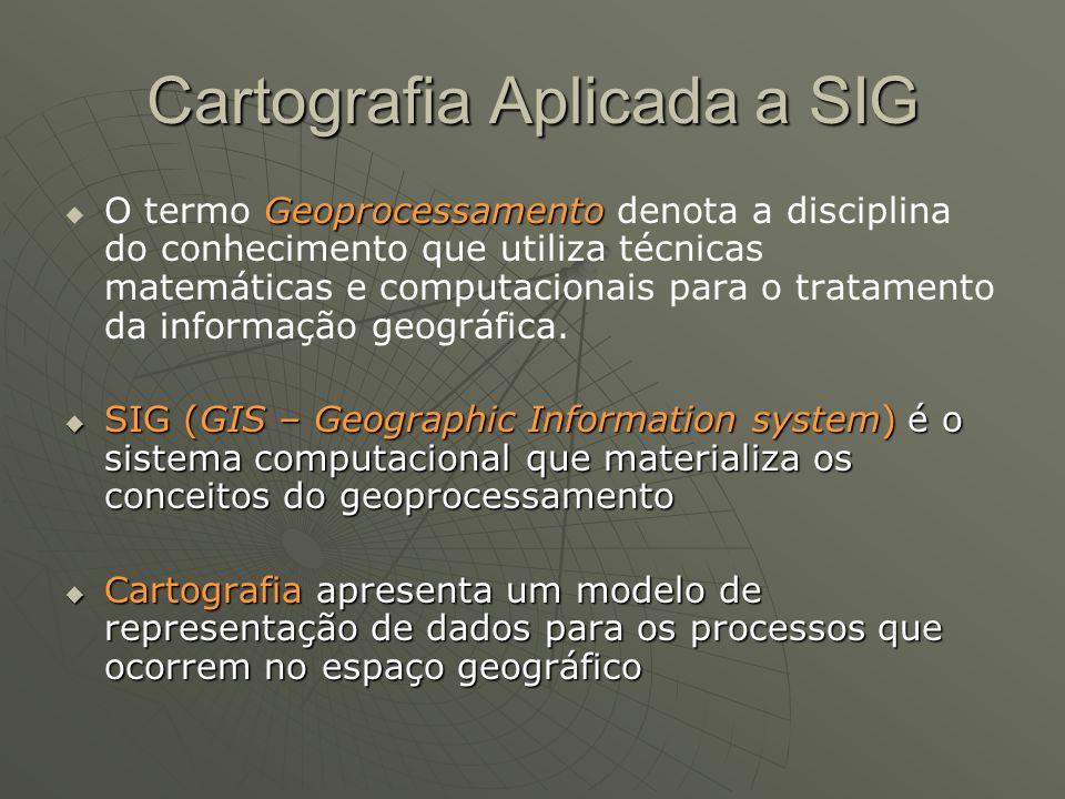 Cartografia Aplicada a SIG Geoprocessamento O termo Geoprocessamento denota a disciplina do conhecimento que utiliza técnicas matemáticas e computacio