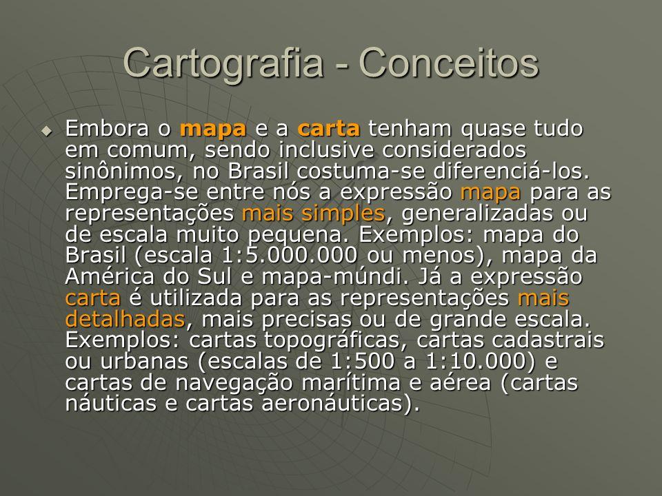 Cartografia - Conceitos Embora o mapa e a carta tenham quase tudo em comum, sendo inclusive considerados sinônimos, no Brasil costuma-se diferenciá-lo