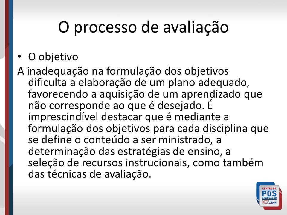 O processo de avaliação O objetivo A inadequação na formulação dos objetivos dificulta a elaboração de um plano adequado, favorecendo a aquisição de u