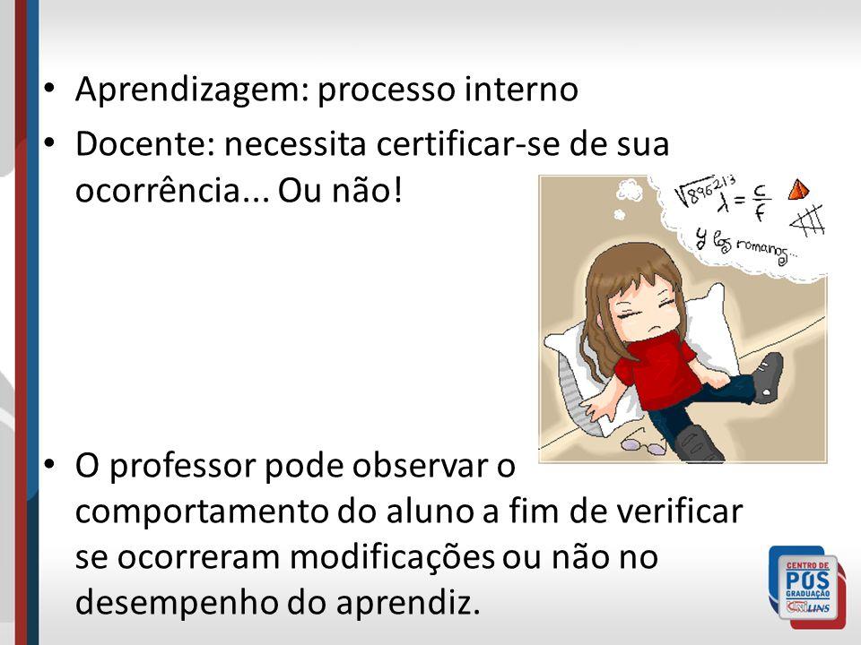 Aprendizagem: processo interno Docente: necessita certificar-se de sua ocorrência... Ou não! O professor pode observar o comportamento do aluno a fim