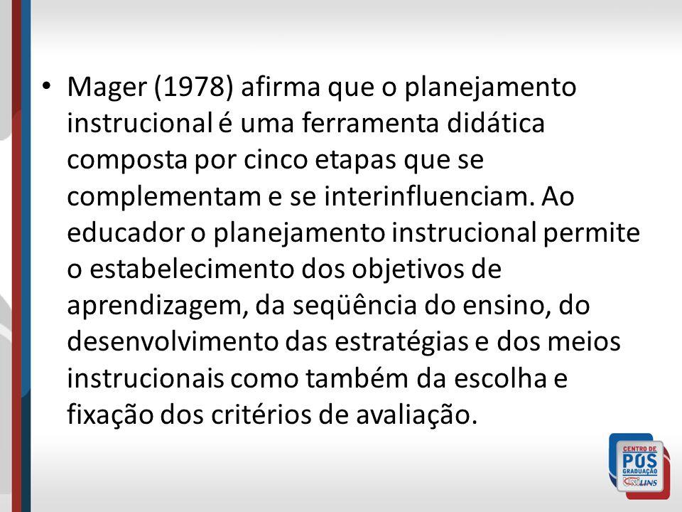 Mager (1978) afirma que o planejamento instrucional é uma ferramenta didática composta por cinco etapas que se complementam e se interinfluenciam. Ao