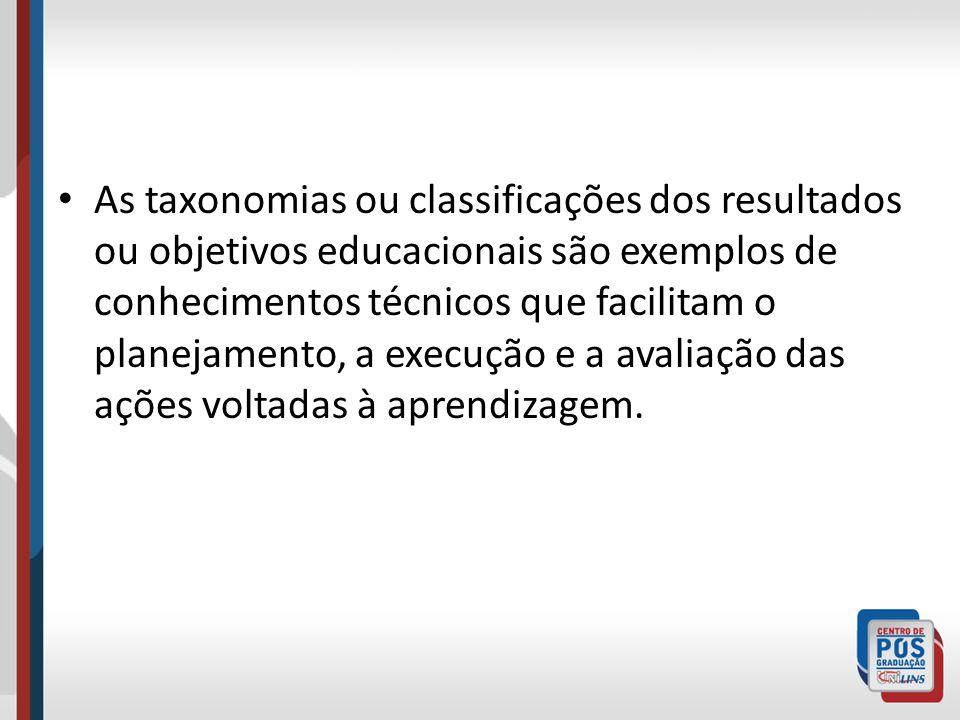 As taxonomias ou classificações dos resultados ou objetivos educacionais são exemplos de conhecimentos técnicos que facilitam o planejamento, a execuç