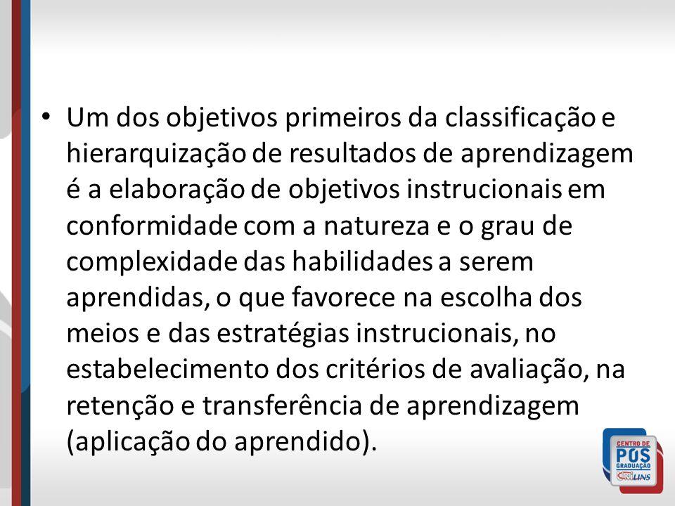 Um dos objetivos primeiros da classificação e hierarquização de resultados de aprendizagem é a elaboração de objetivos instrucionais em conformidade c