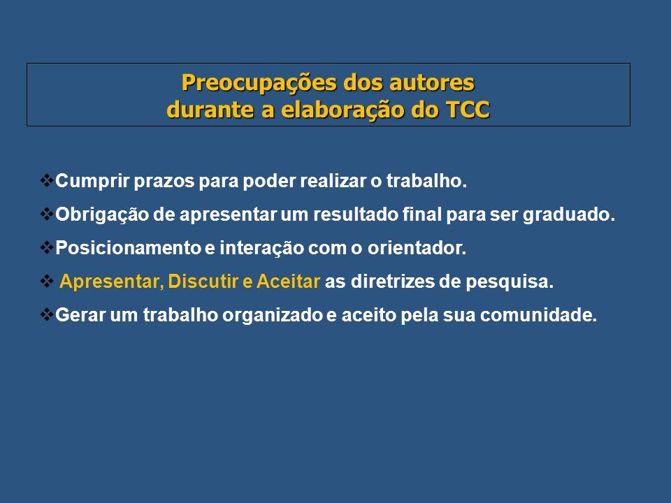 Preocupações dos autores durante a elaboração do TCC Cumprir prazos para poder realizar o trabalho. Obrigação de apresentar um resultado final para se