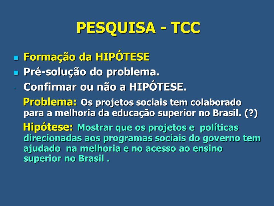 PESQUISA - TCC Formação da HIPÓTESE Formação da HIPÓTESE Pré-solução do problema. Pré-solução do problema. - Confirmar ou não a HIPÓTESE. Problema: Os
