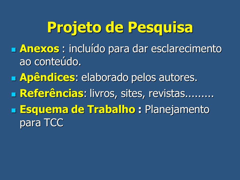 Projeto de Pesquisa Anexos : incluído para dar esclarecimento ao conteúdo. Anexos : incluído para dar esclarecimento ao conteúdo. Apêndices: elaborado