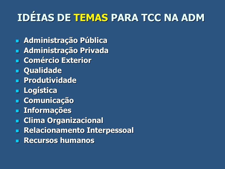 IDÉIAS DE TEMAS PARA TCC NA ADM Administração Pública Administração Pública Administração Privada Administração Privada Comércio Exterior Comércio Ext