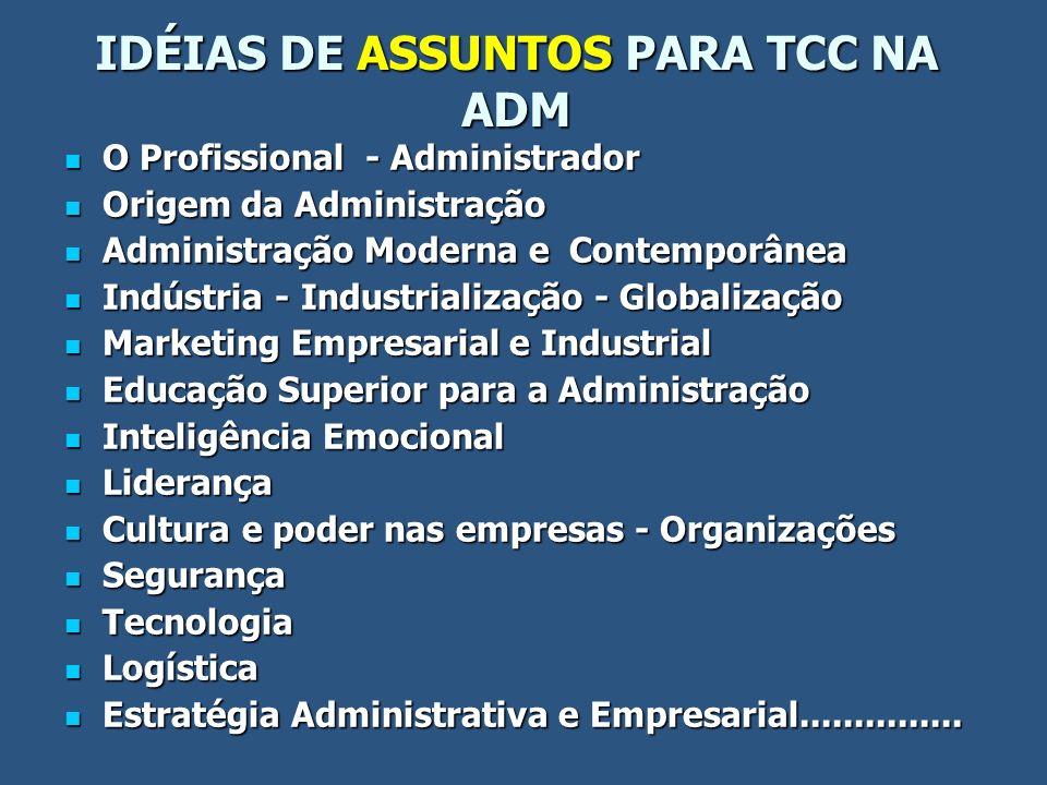 IDÉIAS DE ASSUNTOS PARA TCC NA ADM O Profissional - Administrador O Profissional - Administrador Origem da Administração Origem da Administração Admin