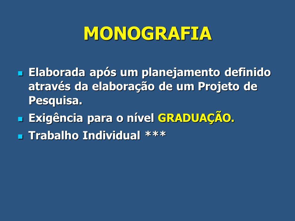 MONOGRAFIA Elaborada após um planejamento definido através da elaboração de um Projeto de Pesquisa. Elaborada após um planejamento definido através da