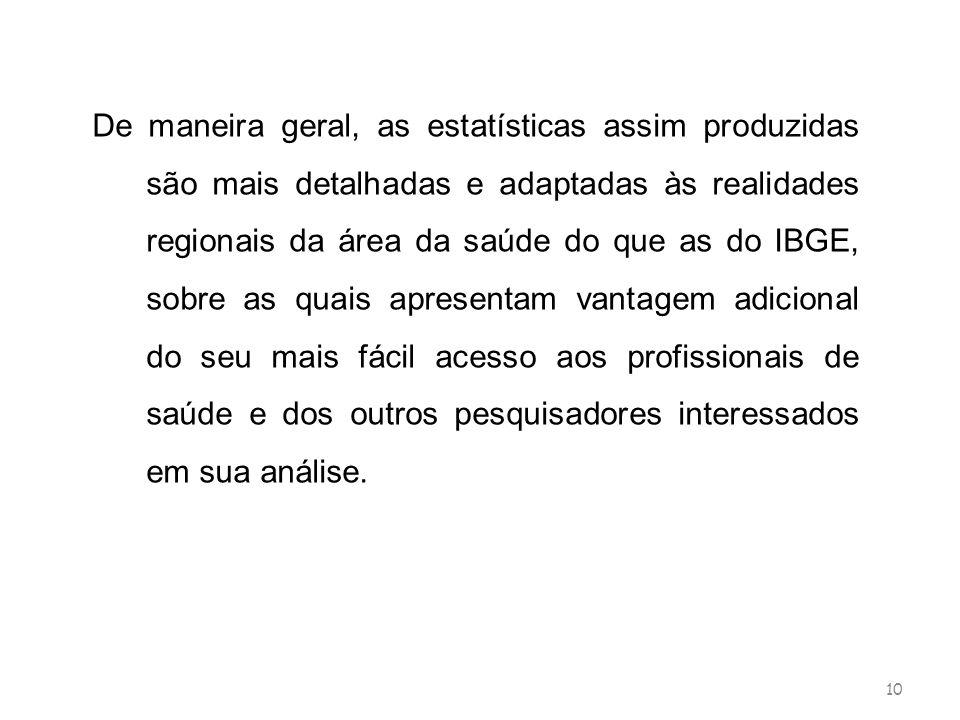 10 De maneira geral, as estatísticas assim produzidas são mais detalhadas e adaptadas às realidades regionais da área da saúde do que as do IBGE, sobr