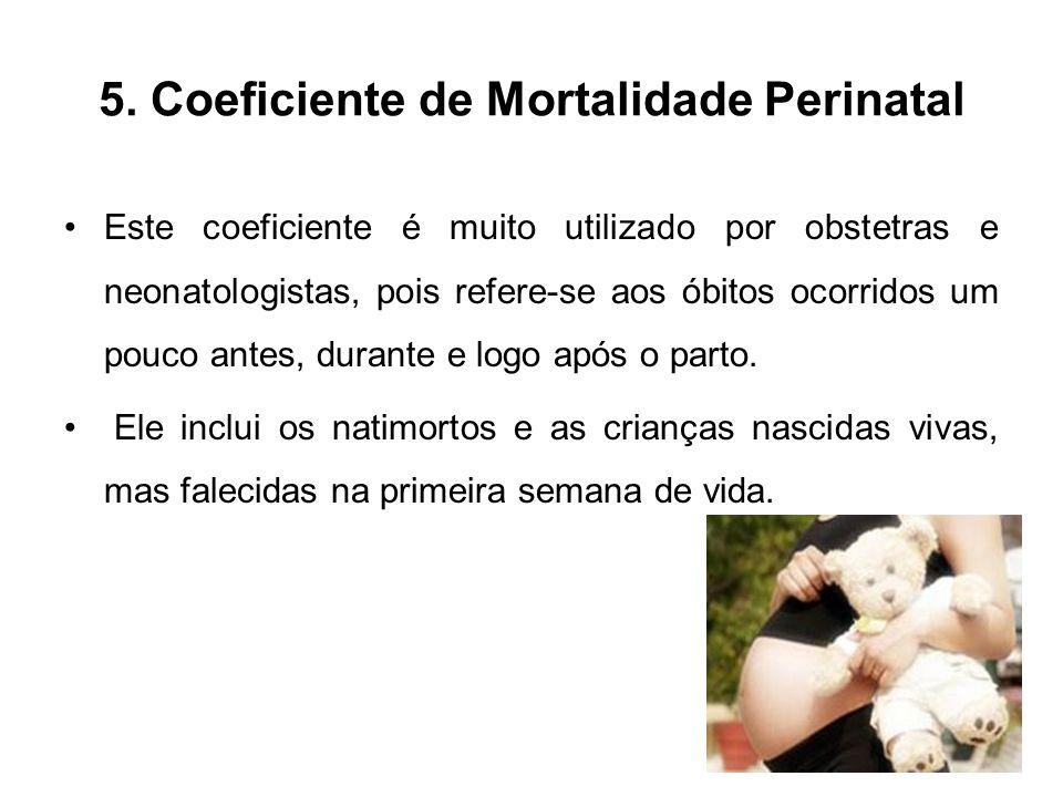 5. Coeficiente de Mortalidade Perinatal Este coeficiente é muito utilizado por obstetras e neonatologistas, pois refere-se aos óbitos ocorridos um pou