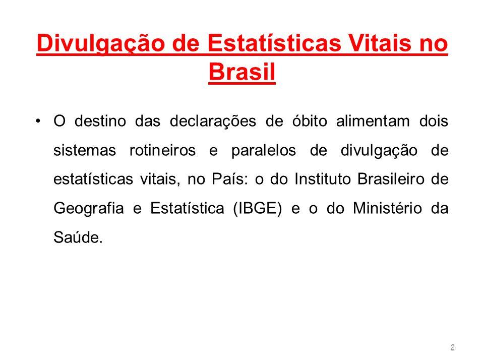 Divulgação de Estatísticas Vitais no Brasil O destino das declarações de óbito alimentam dois sistemas rotineiros e paralelos de divulgação de estatís