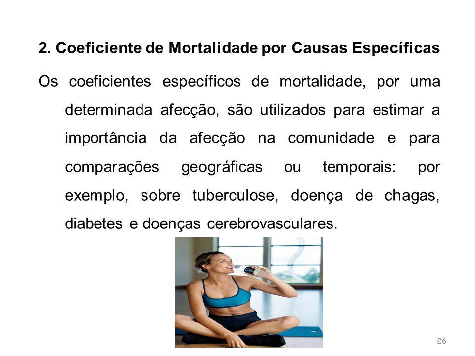 26 2. Coeficiente de Mortalidade por Causas Específicas Os coeficientes específicos de mortalidade, por uma determinada afecção, são utilizados para e