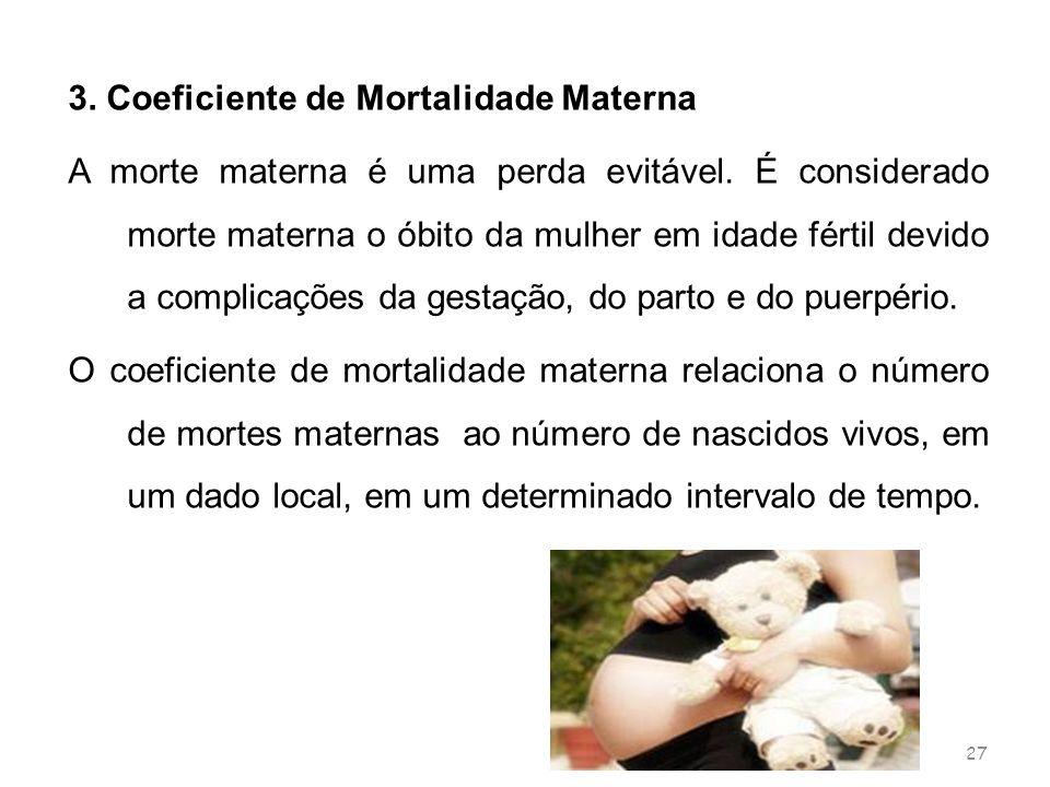 27 3. Coeficiente de Mortalidade Materna A morte materna é uma perda evitável. É considerado morte materna o óbito da mulher em idade fértil devido a