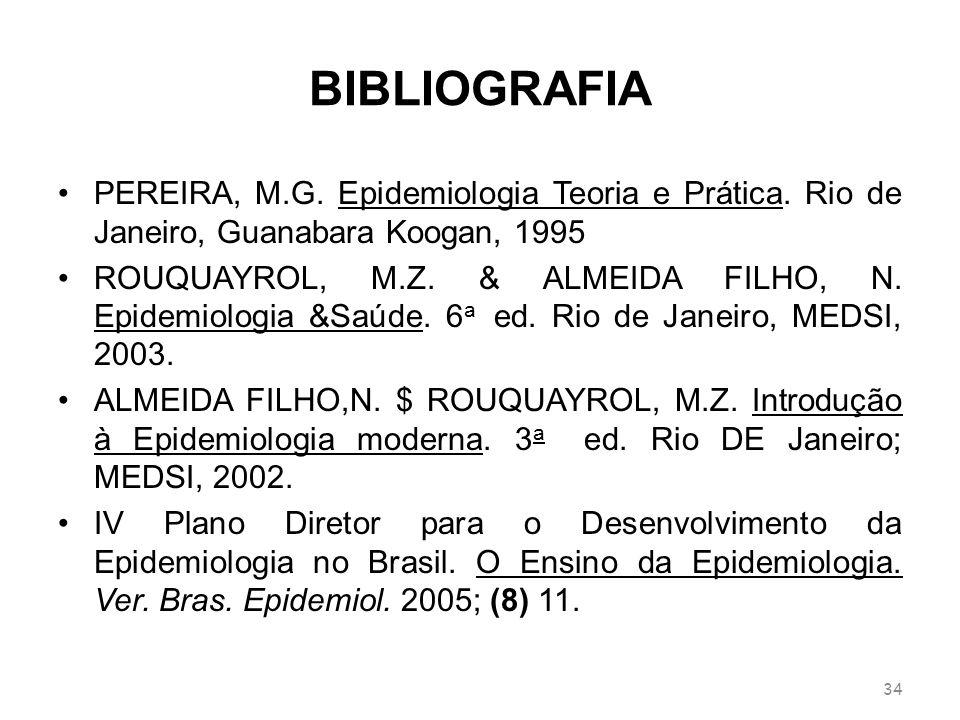 BIBLIOGRAFIA PEREIRA, M.G. Epidemiologia Teoria e Prática. Rio de Janeiro, Guanabara Koogan, 1995 ROUQUAYROL, M.Z. & ALMEIDA FILHO, N. Epidemiologia &