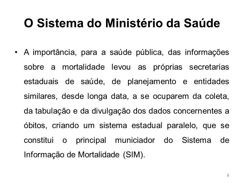 O Sistema do Ministério da Saúde A importância, para a saúde pública, das informações sobre a mortalidade levou as próprias secretarias estaduais de s
