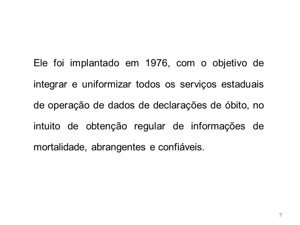 7 Ele foi implantado em 1976, com o objetivo de integrar e uniformizar todos os serviços estaduais de operação de dados de declarações de óbito, no in