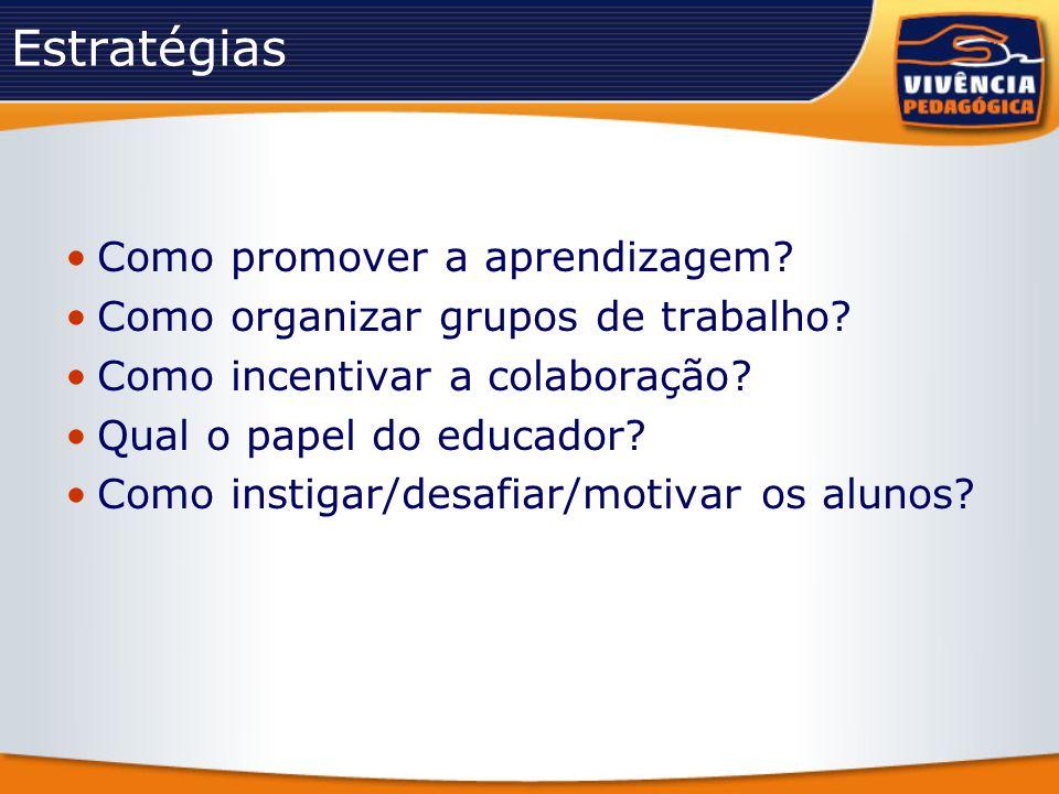 Estratégias Como promover a aprendizagem? Como organizar grupos de trabalho? Como incentivar a colaboração? Qual o papel do educador? Como instigar/de