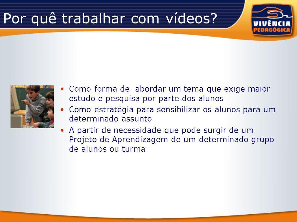 Por quê trabalhar com vídeos? Como forma de abordar um tema que exige maior estudo e pesquisa por parte dos alunos Como estratégia para sensibilizar o