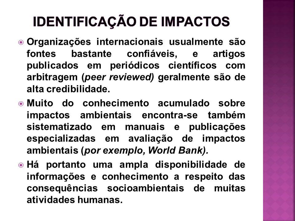 Organizações internacionais usualmente são fontes bastante confiáveis, e artigos publicados em periódicos científicos com arbitragem (peer reviewed) g