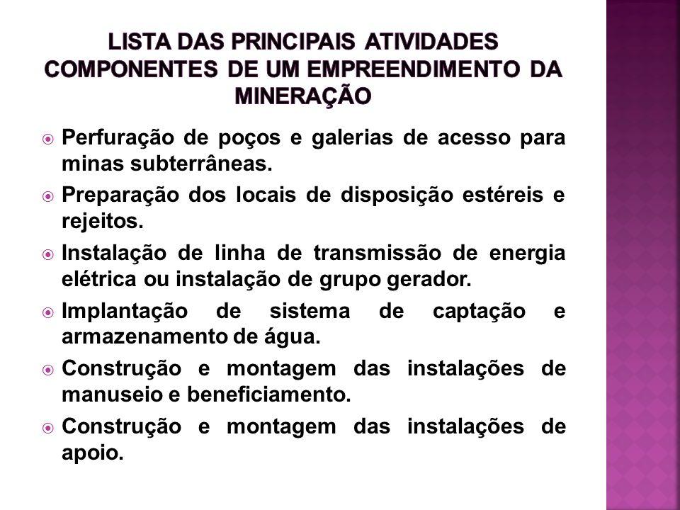 Perfuração de poços e galerias de acesso para minas subterrâneas. Preparação dos locais de disposição estéreis e rejeitos. Instalação de linha de tran