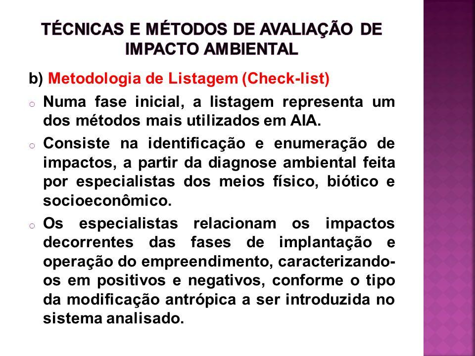 b) Metodologia de Listagem (Check-list) o Numa fase inicial, a listagem representa um dos métodos mais utilizados em AIA. o Consiste na identificação