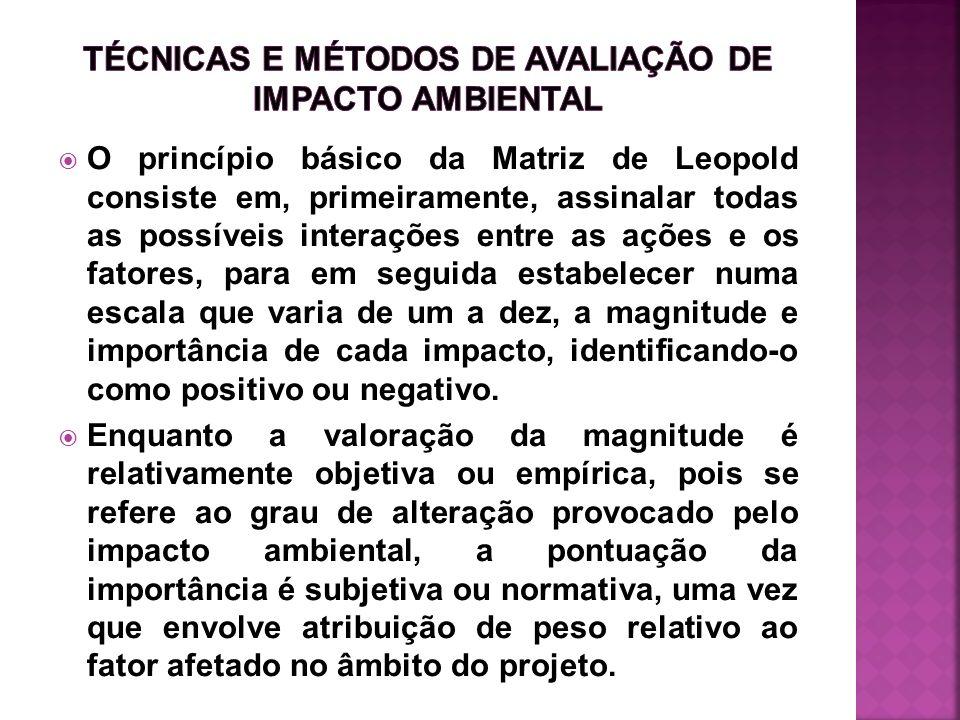 O princípio básico da Matriz de Leopold consiste em, primeiramente, assinalar todas as possíveis interações entre as ações e os fatores, para em segui
