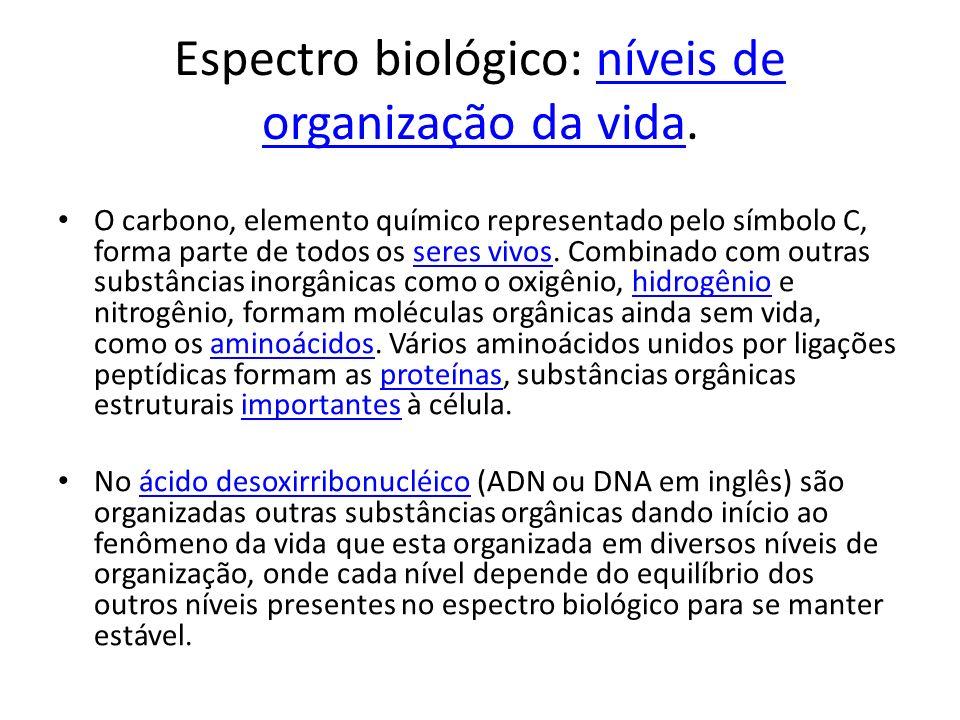 Espectro biológico: níveis de organização da vida.níveis de organização da vida O carbono, elemento químico representado pelo símbolo C, forma parte d