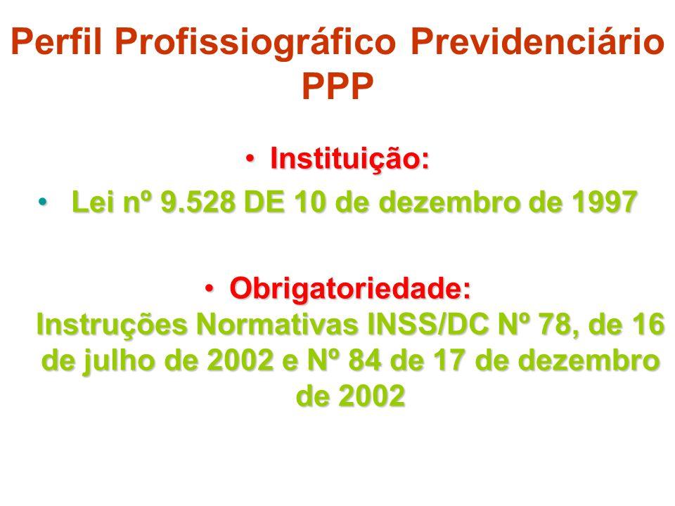 Perfil Profissiográfico Previdenciário PPP Instituição:Instituição: Lei nº 9.528 DE 10 de dezembro de 1997 Lei nº 9.528 DE 10 de dezembro de 1997 Obri