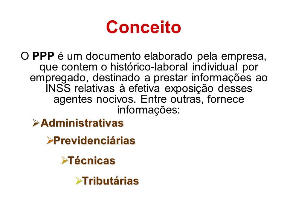 Conceito O PPP é um documento elaborado pela empresa, que contem o histórico-laboral individual por empregado, destinado a prestar informações ao INSS