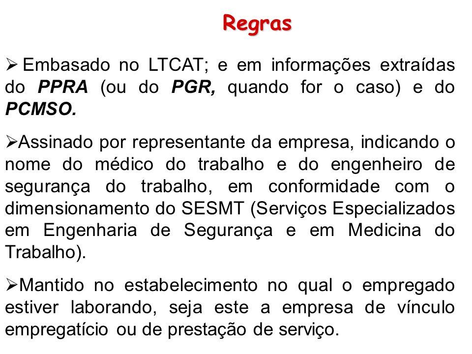 Regras Embasado no LTCAT; e em informações extraídas do PPRA (ou do PGR, quando for o caso) e do PCMSO. Assinado por representante da empresa, indican