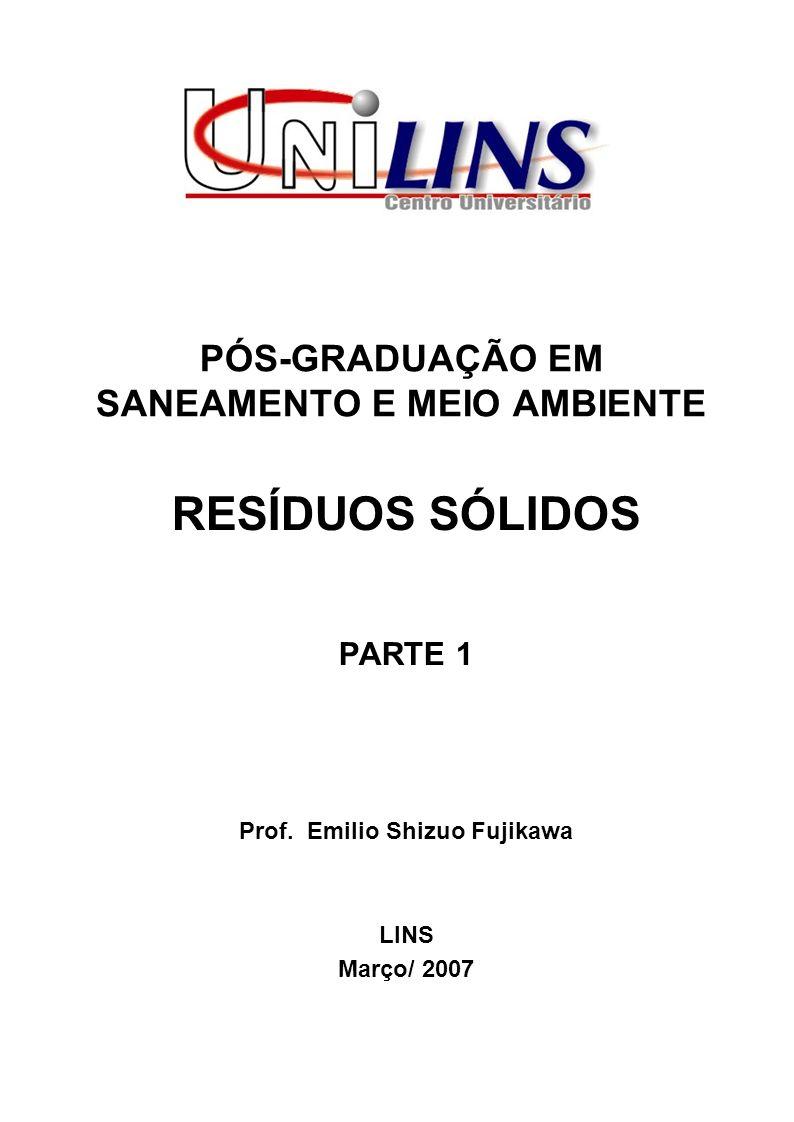 PÓS-GRADUAÇÃO EM SANEAMENTO E MEIO AMBIENTE RESÍDUOS SÓLIDOS PARTE 1 Prof.