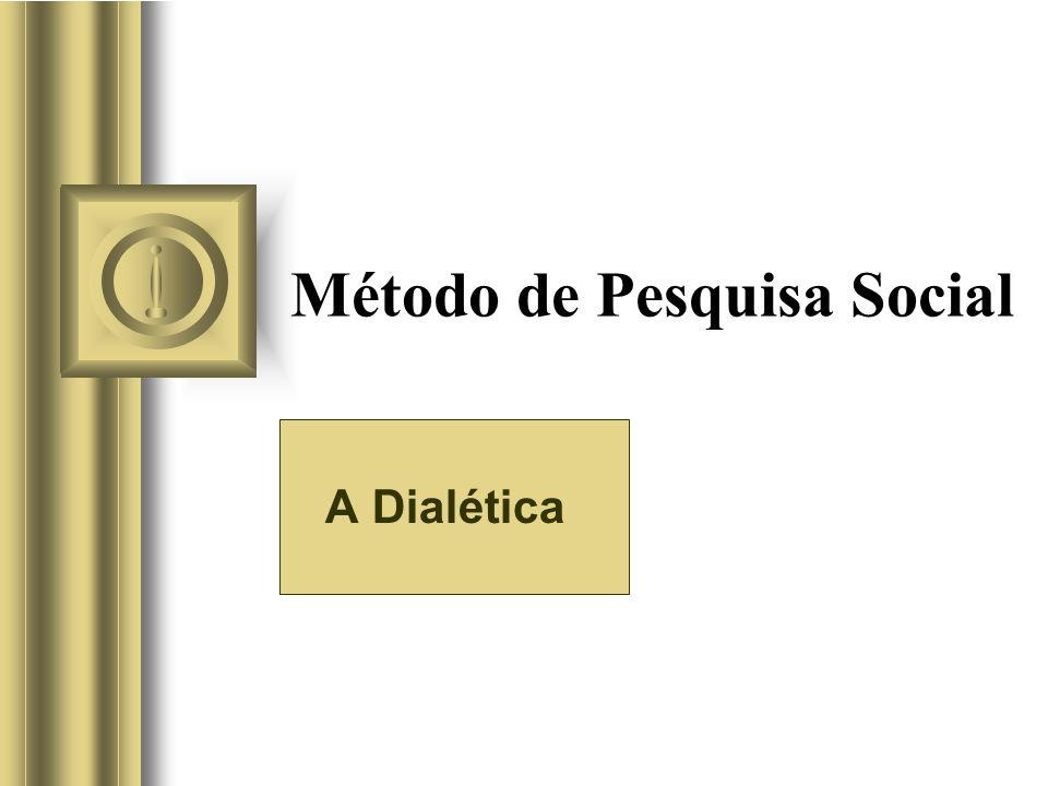 Método de Pesquisa Social A Dialética Esta apresentação irá envolver algum debate com a platéia, o que irá criar itens de ação. Use o PowerPoint para