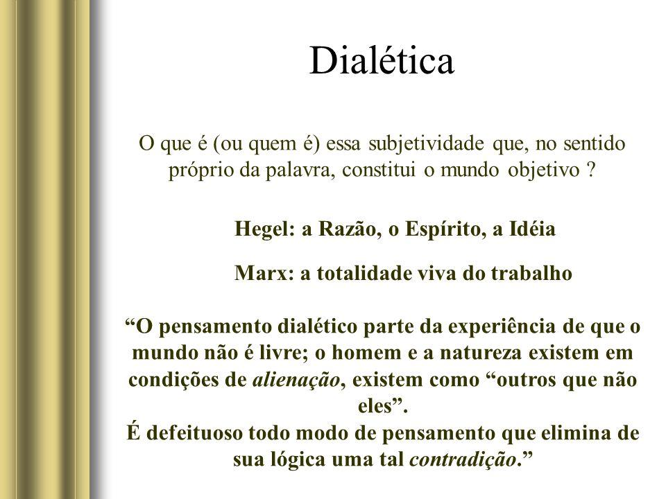 Dialética O que é (ou quem é) essa subjetividade que, no sentido próprio da palavra, constitui o mundo objetivo ? Hegel: a Razão, o Espírito, a Idéia