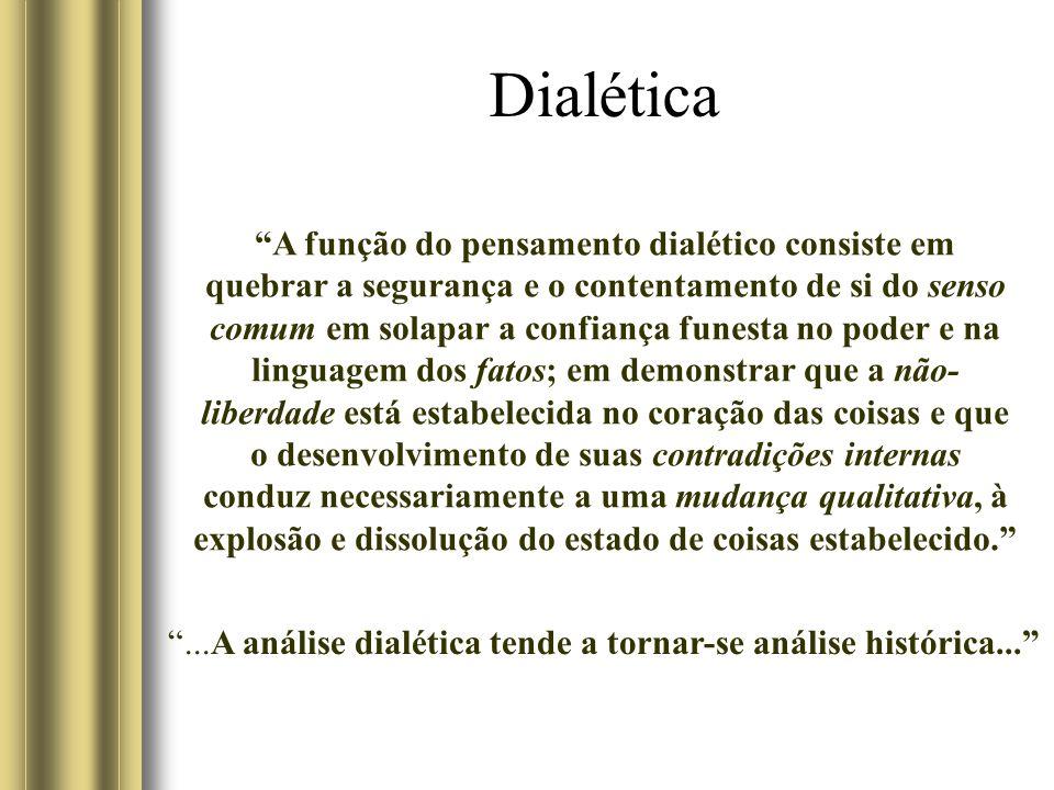 Dialética A função do pensamento dialético consiste em quebrar a segurança e o contentamento de si do senso comum em solapar a confiança funesta no po