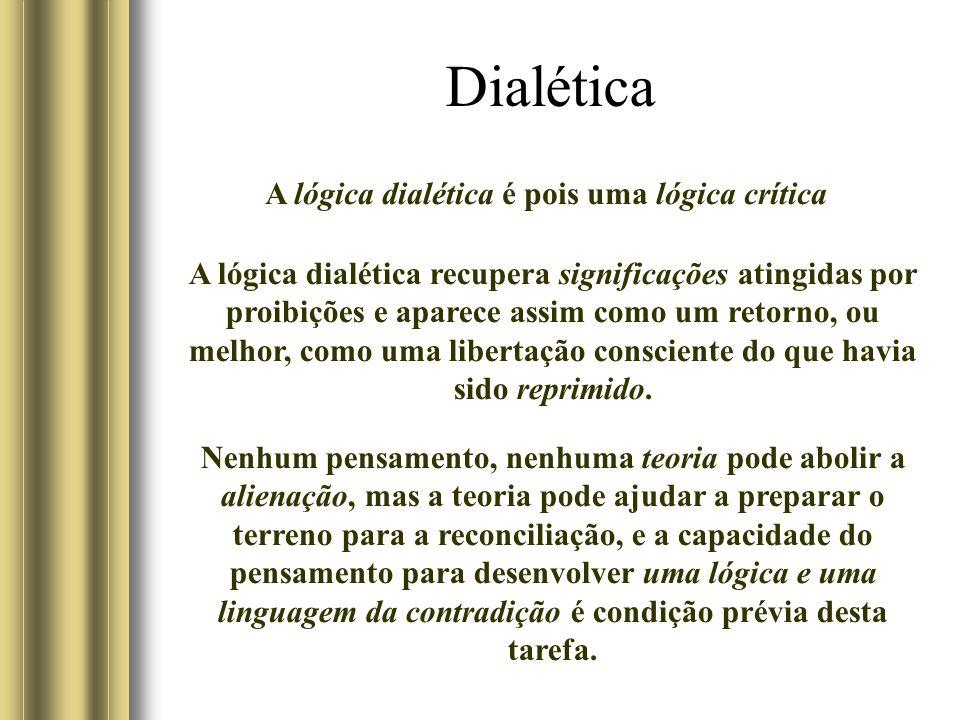 Dialética A lógica dialética é pois uma lógica crítica A lógica dialética recupera significações atingidas por proibições e aparece assim como um retorno, ou melhor, como uma libertação consciente do que havia sido reprimido.