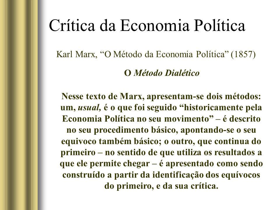 Crítica da Economia Política Karl Marx, O Método da Economia Política (1857) O Método Dialético Nesse texto de Marx, apresentam-se dois métodos: um, usual, é o que foi seguido historicamente pela Economia Política no seu movimento – é descrito no seu procedimento básico, apontando-se o seu equivoco também básico; o outro, que continua do primeiro – no sentido de que utiliza os resultados a que ele permite chegar – é apresentado como sendo construído a partir da identificação dos equívocos do primeiro, e da sua crítica.