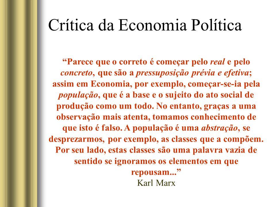 Crítica da Economia Política Parece que o correto é começar pelo real e pelo concreto, que são a pressuposição prévia e efetiva; assim em Economia, por exemplo, começar-se-ia pela população, que é a base e o sujeito do ato social de produção como um todo.