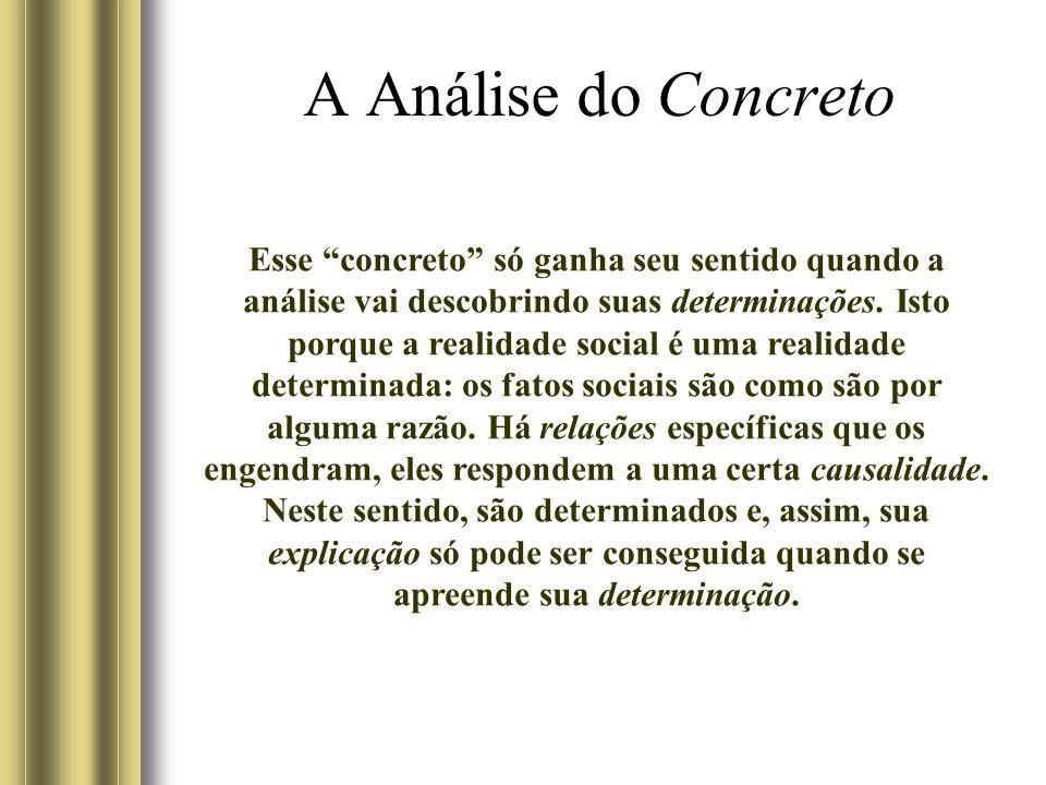 A Análise do Concreto Esse concreto só ganha seu sentido quando a análise vai descobrindo suas determinações.