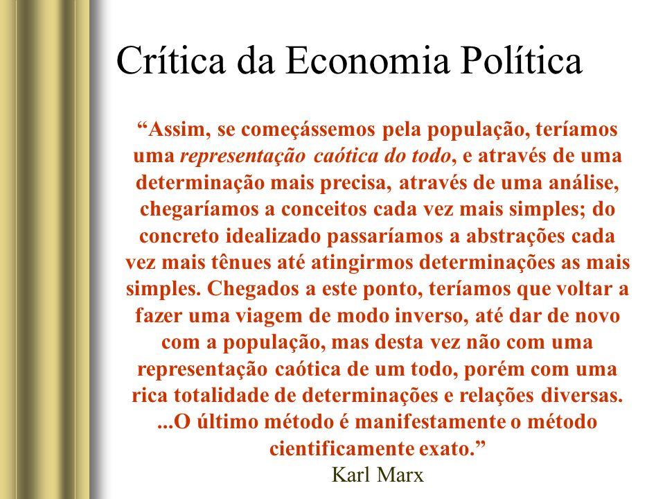 Crítica da Economia Política Assim, se começássemos pela população, teríamos uma representação caótica do todo, e através de uma determinação mais pre