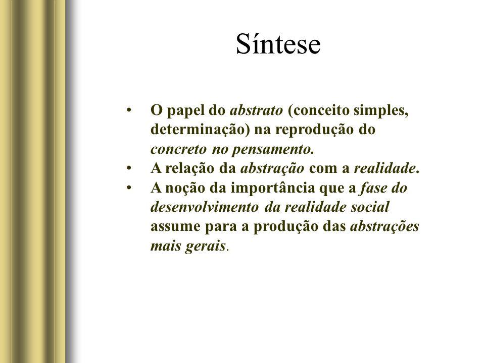 Síntese O papel do abstrato (conceito simples, determinação) na reprodução do concreto no pensamento.