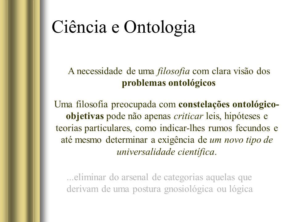 Ciência e Ontologia A necessidade de uma filosofia com clara visão dos problemas ontológicos Uma filosofia preocupada com constelações ontológico- obj