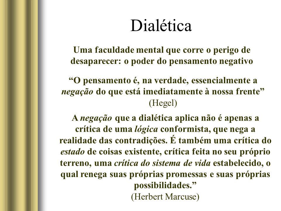 Dialética O poder do pensamento negativo é a força motriz do pensamento dialético empregado como instrumento para analisar o mundo dos fatos, nos termos mesmos de sua inadequação interna.