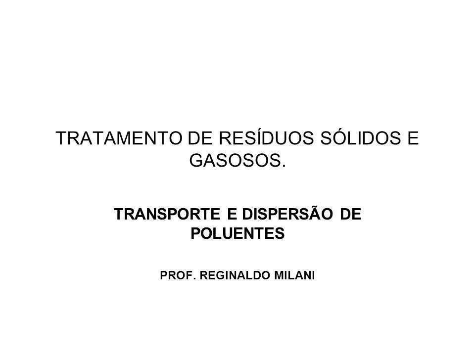 TRATAMENTO DE RESÍDUOS SÓLIDOS E GASOSOS.TRANSPORTE E DISPERSÃO DE POLUENTES PROF.