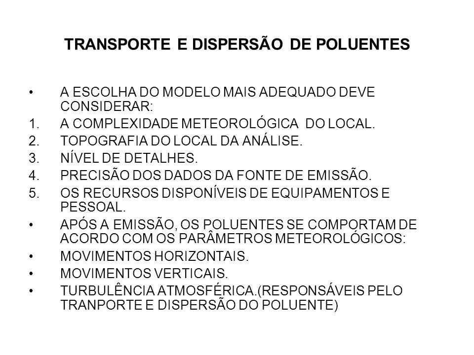 TRANSPORTE E DISPERSÃO DE POLUENTES A ESCOLHA DO MODELO MAIS ADEQUADO DEVE CONSIDERAR: 1.A COMPLEXIDADE METEOROLÓGICA DO LOCAL.