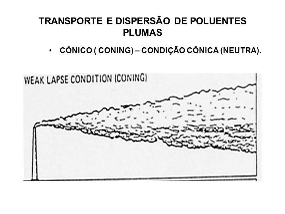 TRANSPORTE E DISPERSÃO DE POLUENTES PLUMAS CÔNICO ( CONING) – CONDIÇÃO CÔNICA (NEUTRA).
