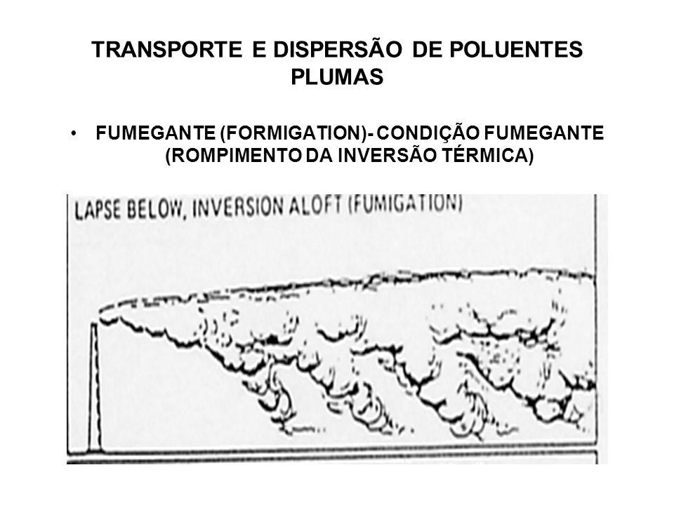 TRANSPORTE E DISPERSÃO DE POLUENTES PLUMAS FUMEGANTE (FORMIGATION)- CONDIÇÃO FUMEGANTE (ROMPIMENTO DA INVERSÃO TÉRMICA)