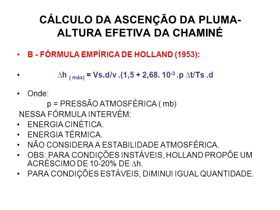 CÁLCULO DA ASCENÇÃO DA PLUMA- ALTURA EFETIVA DA CHAMINÉ B - FÓRMULA EMPÍRICA DE HOLLAND (1953): h ( máx) = Vs.d/v.(1,5 + 2,68.