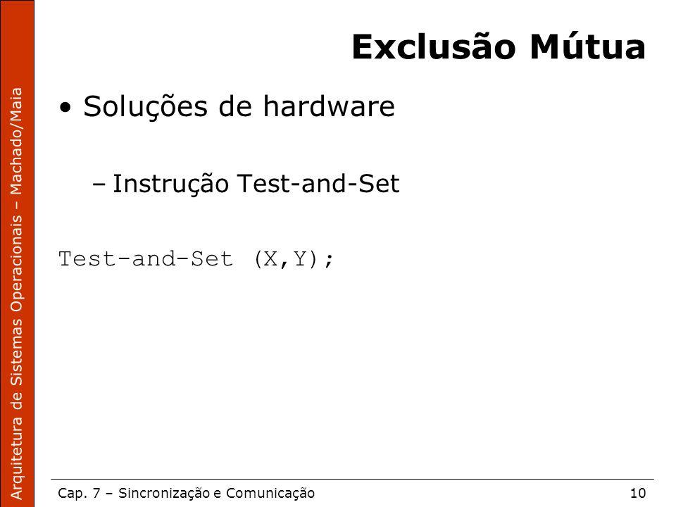 Arquitetura de Sistemas Operacionais – Machado/Maia Cap. 7 – Sincronização e Comunicação10 Exclusão Mútua Soluções de hardware –Instrução Test-and-Set